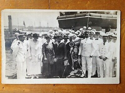 RPPC Navy Group REAL PHOTO postcard ship women WW1 wwi us navy sailors war