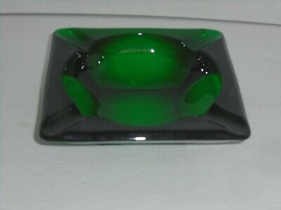 Vintage Antique Large Solid Dark Green Glass Ashtray