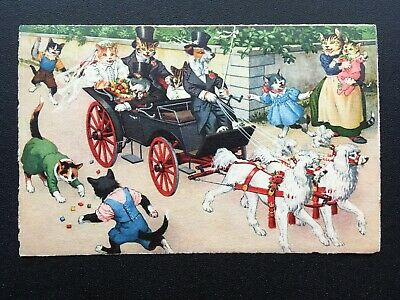 Wedding Carriage Alfred Mainzer 4701 Postcard Anthropomorphic Cats Comic Funny