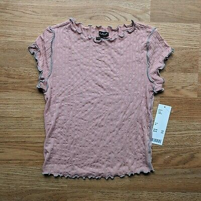 NWT Urban Outfitters Out From Under Mauve Pink Ribbed Lettuce-Edge Crop Top XS