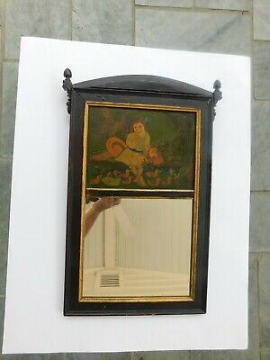Antique Primitive Acorn Finials Wooden Hand Painted Mirror Folk Art Oil Painting