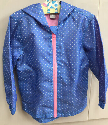 Girls TU Blue White Spotted Light Summer Showerproof Coat Jacket Age 3- 4 Years