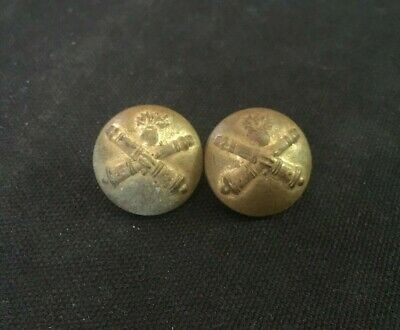 """2x Antique Used """"A"""" Qualite Superieure Of Two Cannons Brass Buttons"""
