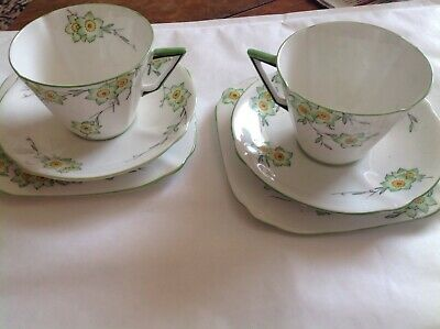 2 Attractive Old Roslyn Emerald Fine Bone China Trios - Cups, Saucers And Plates
