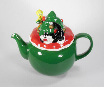 VTG 1995 Warner Bros.Christmas Tree teapot G279 Looney Tunes Sylvester Tweety