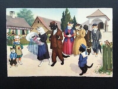 Christening Baptism Alfred Mainzer 4723 Postcard Anthropomorphic Cats Comic Fun