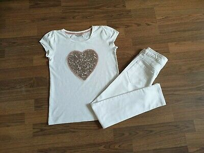 Girls Next White Outfit Set T-shirt and Denim Jeans Pants Trousers  10-11 Years