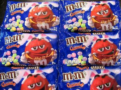 Lot of (6)Bags M&M's CARAMEL CHOCOLATE Easter LARGE 9.5oz M&Ms Candy  10-2020