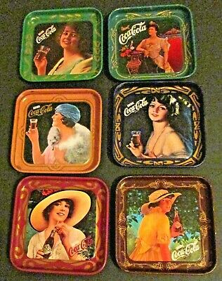 Vintage Set of 6  1977 Coca Cola trays Italy 50th anniversary limited edition