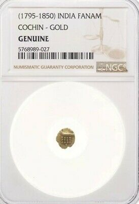 Indian 1795-1850 Fanam Cochin Genuine Gold Coin NGC Certified