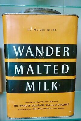 Vintage Large WANDER MALTED MILK TIN. Country Store Advertising. 10LBS Exc.