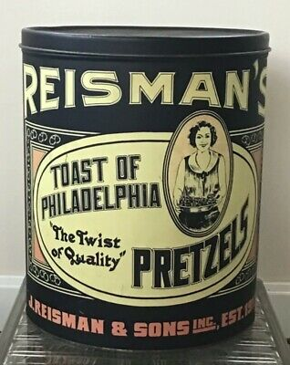 "Vtg Retro Reisman's ""Toast of Philadelphia"" Pretzel Two Sided Advertising Tin"