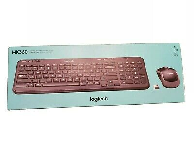 Logitech MK360 Compact and Slim Wireless Keyboard & Mouse Combo in Black New