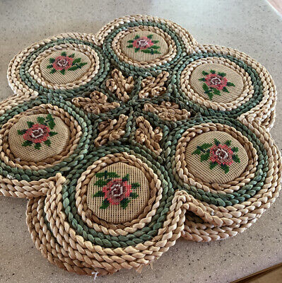 Large Woven Mats, Embroidered Flowers , Used, Good Condition