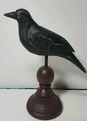 Primitive Wood Carved Black Crow On Spindle Finial Raven Poe Distressed Rustic