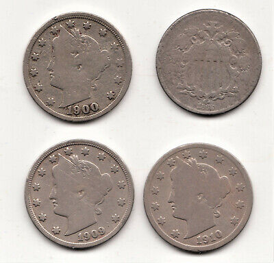 Lot of 4 old Nickles  1868 Shield,  and 1900, 1909, 1910 Liberty (V)