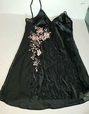 California Dynasty Black Sheer Baby Doll Nightgown  Size S Looks New