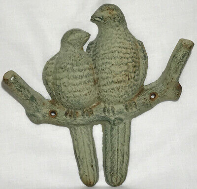 Rustic Cottage Shabby Chic Cast Iron Coat Hook Rack Birds On Branch Wall Hanger
