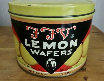 Vintage FFV Lemon Wafers Tin Southern Biscuit Company Great Condition