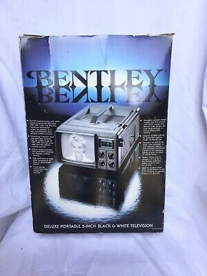 **Vintage BENTLEY 5 inch BLACK and WHITE Deluxe PORTABLE TV in Box!**