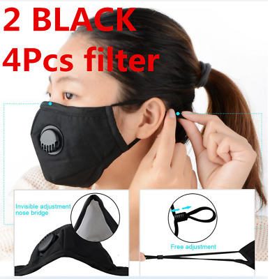 2Pc Black Air Purifying Face Mask Carbon Filter Vented Mask Respirator Washable