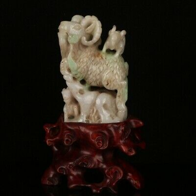 Chinese Exquisite Hand-carved sheep carving Jadeite jade statue