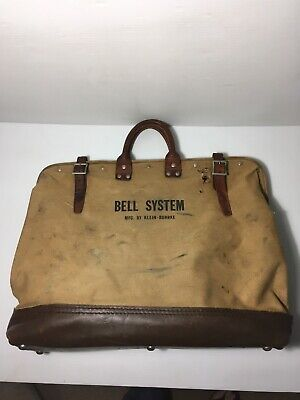 Vintage Bell System Leather Canvas Telephone Lineman Tool Bag