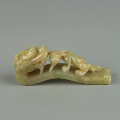 Chinese Exquisite Hand-carved brave troops Carving jadeite jade statue