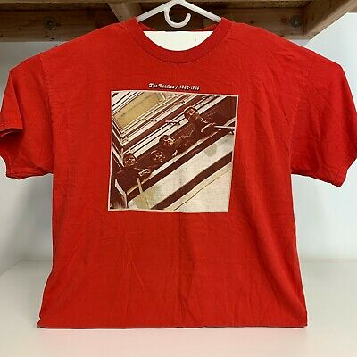 The Beatles Red T Shirt!! Greatest Hits 1962-1966 Men's Size XL BUY IT NOW!!