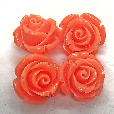 4 Authentic Pink Shell Coral Resin Hand-Carved Floral Beads Vintage Old Jewelry