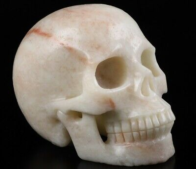 """5.0"""" PINK SERPENTINE & TALC  Carved Crystal Skull, Realistic, Crystal Healing"""