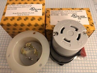 NEMA L14-30, 3 POLE, 4 WIRE, 30A 125/250V Locking FLANGED INLET AND CONNECTOR