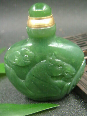Chinese Antique Celadon Nephrite Hetian-OLD Jade Horse statues Snuff bottle245