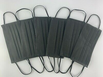 6 Pack HAND MADE Black Non-Woven Cloth Face Masks Washable, Reusable Dual-Layer