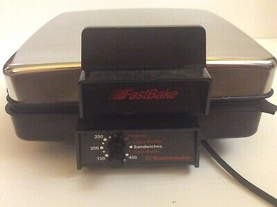 Vtg TOASTMASTER FastBake Chrome WAFFLE MAKER Iron/SANDWICH GRIDDLE Grill #275~US