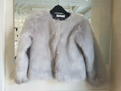 Girls Fluffy Coat - Minoti - 7-8 years / 122-128cm - silver - grey