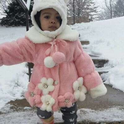 Baby Kids Girls Winter Flowers Faux Fur Cotton Thick Coat Outerwear Jacket Tops