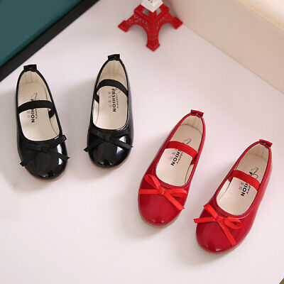 LOVELY Girls Shoes Kids Childrens Low Heel Party Bow Leather Princess Shoes