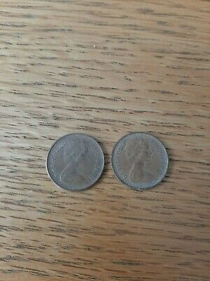 2 x British half penny coins 1974 and 1976 good condition