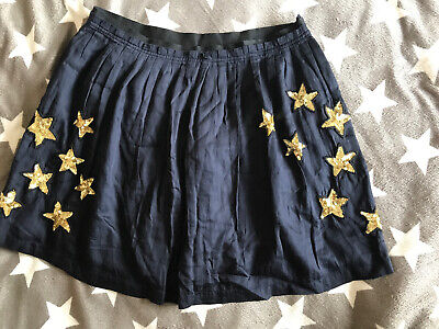 Boden Johnnie B Girls Teen Lined Gold Sequin Star Navy Skirt Size30""