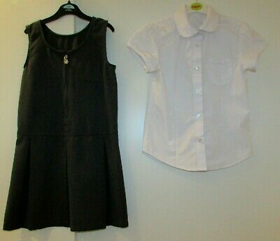 Girls Bundle School White Shirt & Grey Pinafore 8-9 Years Good Condition