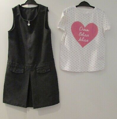 Girls Bundle Age 7-8 Years Grey School Pinafore & Tunic Top Good Condition