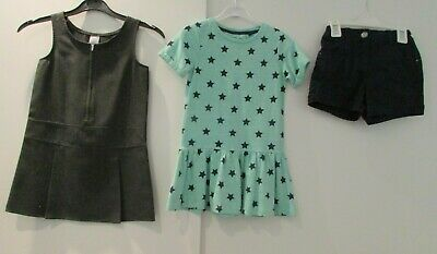 Girls Bundle Age 4-5 Years Grey School Pinafore Tunic Top & Shorts Good Conditio