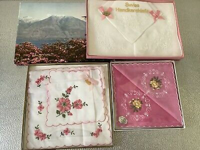Vintage Swiss Handkerchiefs Embroidered New Boxed X 3