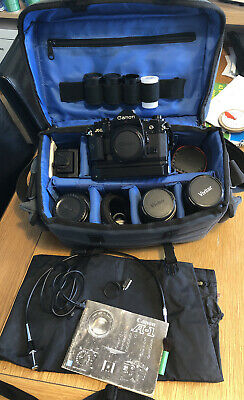 Canon A-1 35mm SLR Film Camera + Motor Drive And Case