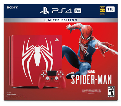 Sony Playstation 4 Ps4 Pro 1Tb Spider-Man Limited Edition W/ Controller + Game