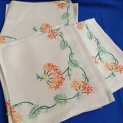 "Vintage 12 Cotton or Linen--16"" Square-Embroidered Napkins"