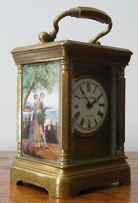 A Miniature Elliott & Son French Brass Porcelain Panel Carriage Clock Working