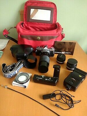 OLYMPUS OM 35MM Silver Body Camera with Many Extras