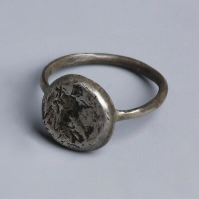 BEAUTIFUL Ancient Byzantine Silver Iconographic Ring With Saint Holding A Cross
